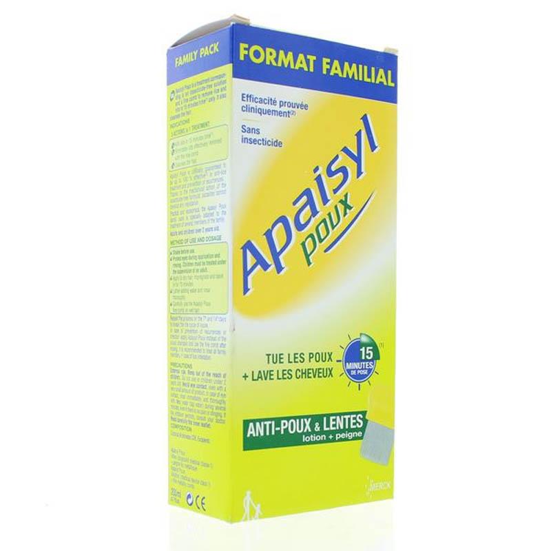 Achetez APAISYL POUX Shampooing antipoux et lente flacon 200 ml+peigne