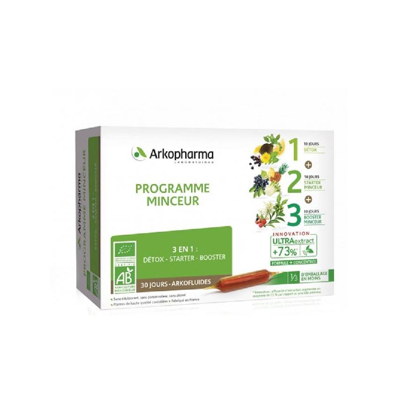 Achetez ARKOFLUIDE BIO ULTRAEXTRACT Coffret programme minceur 3x10 Ampoule de 10ml