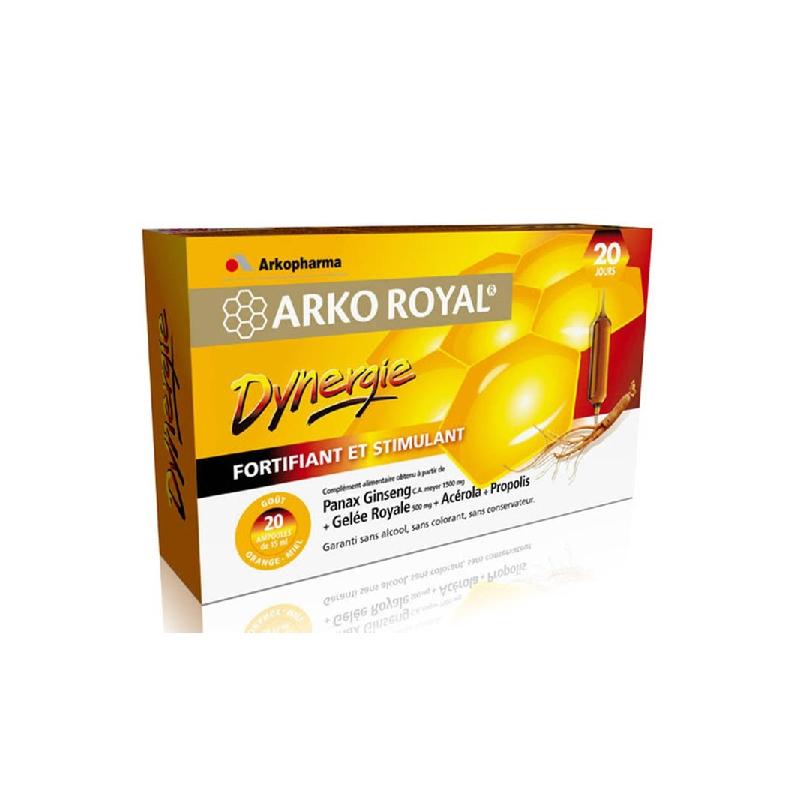 Achetez ARKOROYAL DYNERGIE Ginseng Gelée royale Propolis Solution Buvable 20 Ampoule de 10ml