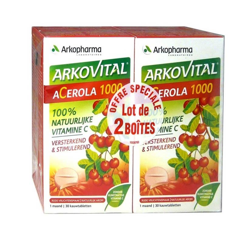 Achetez ARKOVITAL ACEROLA 1000 Comprimé à croquer 2 Boîte de 30