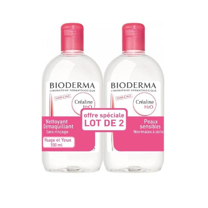 CREALINE H2O Solution micellaire nettoyante apaisante sans parfum 2 Flacon de 500ml