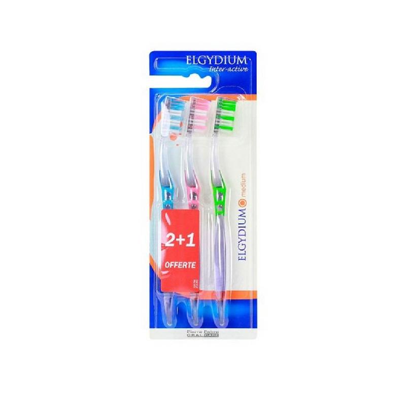 Achetez ELGYDIUM INTER-ACTIVE TRIO Brosse dents médium Boîte de 2+1 offerte